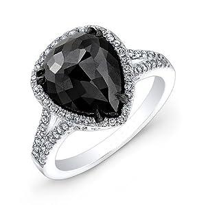 4.96 carat Rose & Round Brilliant Cut Black & White Diamond Anniversary Engagement Ring in 14k White Gold