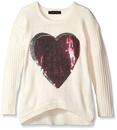 Derek Heart Big Girls' Intarsia Heart Sweater, Cream, Small