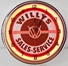 Willys Sales Service 15 Neon Light Clock Garage Emblem Tin Sign Jeep Custom Orange