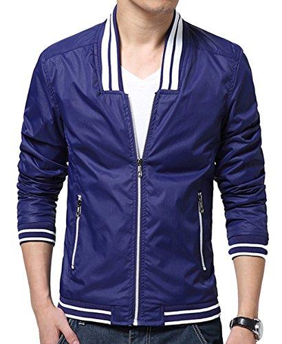 Cq Men'S Winter Slim Fit Casual Stylish Zip Up Coats Jackets 3Xl Blue