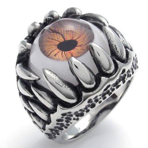 KONOV ジュエリー ファッション アクセサリー メンズ リング 指輪, バイカーズ ゴシック トライバル クロー 悪魔 目 アイ, ステンレス, カラー:ブラウン; シルバー(銀);[ギフトバッグを提供] - [14号]