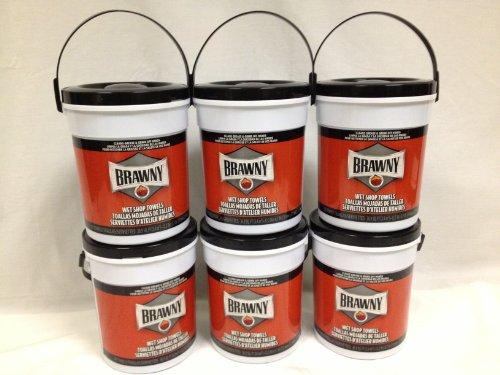 "Brawny Industrial 21900 Blue Wet Shop Towel Pail, 12.2"" Length X 8.7"" Width (Case Of 6) front-226145"