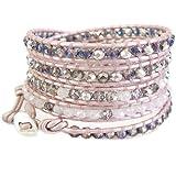 Chan Luu Crystal Pink Mix Suraiya Leather Wrap Bracelet BSZ-3856