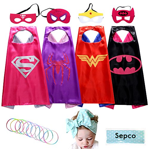 Sepco Superhero Costume Girl Cape and Mask with Glow Bracelet and Hair Band