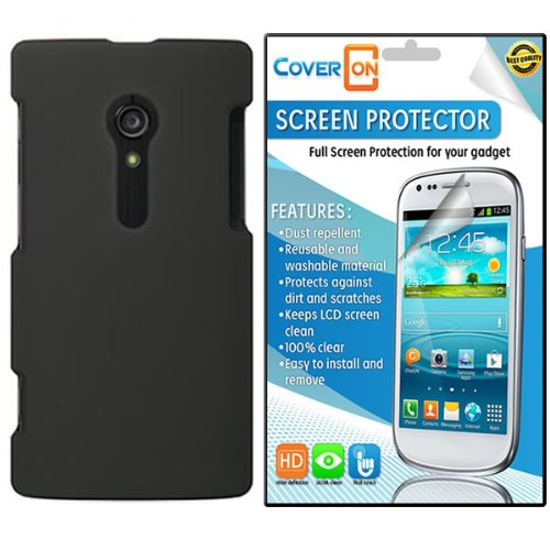 Coveron® Sony Xperia Ion Silicone Rubber Soft Skin Case Cover Bundle With Clear Anti-Glare Lcd Screen Protector - Black