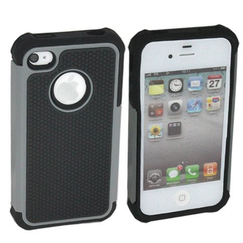 TCD for Apple iPhone 4 4S [GRAY] LIFETIME WARRANTY Executive Armor Defender Series [HIGH IMPACT] Multi Layer [Hard/Soft Combo] TPU & Hard Plastic Shock Absorbent [SCREEN PROTECTOR STYLUS PEN] (Iphone 4 Case Combo Pack compare prices)