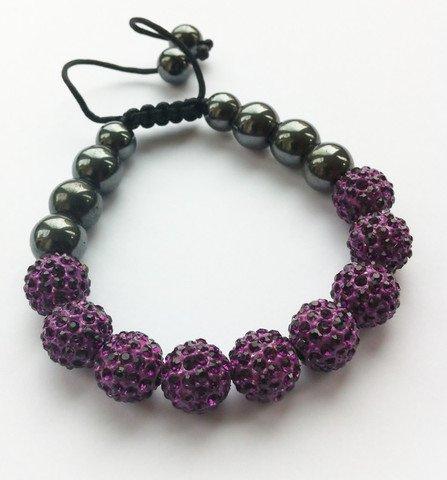 Shamballa Bracelet PURPLE (No Strings) Disco Ball Friendship Bead Unisex Bracelets Swarovski Crystal Beads