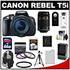 Canon EOS Rebel T5i Digital SLR Camera & EF-S 18-135mm IS STM Lens with EF-S 55-250mm IS Lens + 64GB Card + Battery + Backpack + 3 UV/FLD/CPL Filters Kit