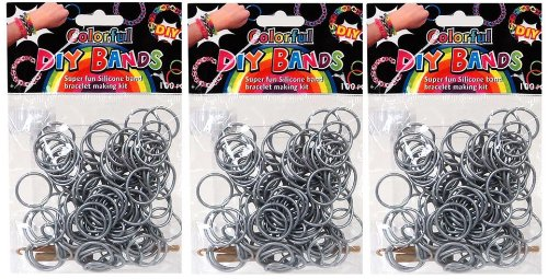 DIY Bands - 300 Count Silver Refill Silicone Bands with Clips and Loom Tool - 1