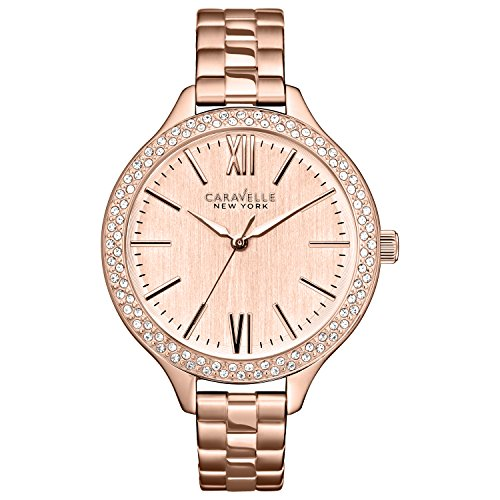 Caravelle New York Rose Gold Women's Quartz Watch with Rose Gold Dial Analogue Display and Rose Gold Stainless Steel Bracelet 44L125