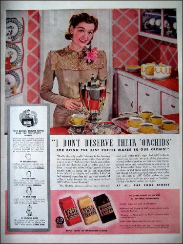 1941 A & P Food Store Vintage AD Coffee Eight O'Clock, Red Circle and Bokar