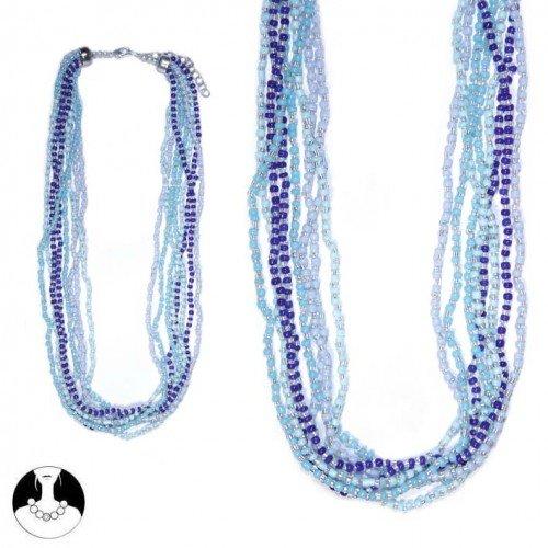 sg paris women necklace necklace 50 cm 8 rows blue combination glass