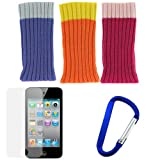 BIRUGEAR 3 Pack iSock Beanie Cap / Sock (Orange + Pink + Purple) + Clear LCD Screen Protector + Belt Clip for Apple iPod Touch 4G, 4th Generation, 4th Gen