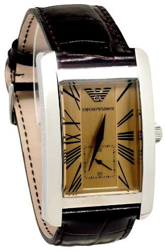 Emporio Armani Men's AR0154 Classic Brown Leather Beige Roman Numeral Dial Watch