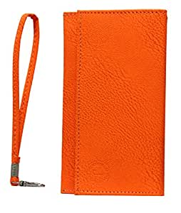 Jo Jo A5 Nilofer Leather Wallet Universal Pouch Cover Case For Lava Mobiles Iris Fuel F1 Mini Orange