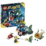 Lego Year 2011 Atlantis Series Battle Scene Set #7978 - ANGLER ATTACK With Angler Fish Deep Sea Jet Treasure Chest...