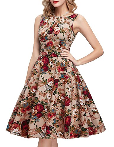 OWIN Women's Vintage 1950's Floral Spring Garden Party Dress Party Cocktail Dress ,Khaki ,Small