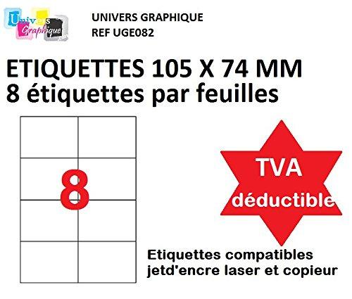 4000 étiquettes adhésive 105 x 74. mm - 8 étiquettes par feuille - 500 feuilles A4 - TVA DÉDUCTIBLE contrairement à certains vendeurs (auto entrepreneurs) -marque UNIVERS GRAPHIQUE REF UGE082