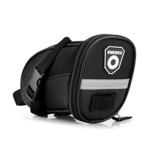 Enkeeo Strap-On Saddle Bike Bag Bicycle Seat Pack Wedge Pack Pouch Splashproof with Straps, Sealed Zipper, Reflective Stripe, Nylon Fabric for Outdoor Cycling (Black) (Barrel Racing Saddle Package compare prices)