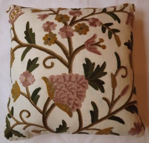 Crewel Pillow Sham Tree of Life Pink Flowers on Off White Cotton (16X16)
