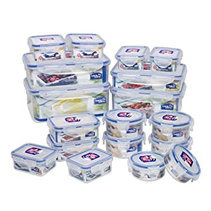 Lock&Lock BPA Free Airtight Container 36-Piece Set/18-Containers, Capacity 40.2 Cups