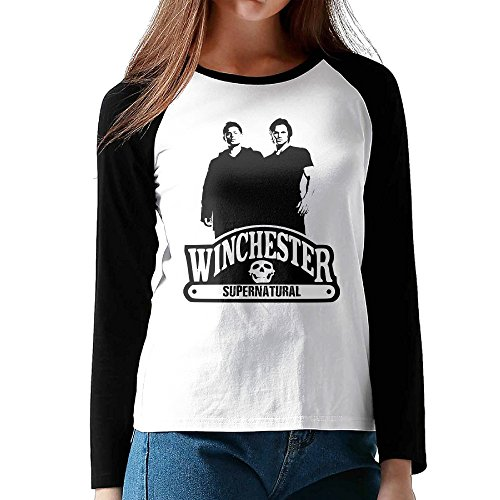 UglyBee Supernatural Brothers Women's Long Sleeve Raglan Shirt Color BlackSize XL (Mario Brothers Coloring Book compare prices)