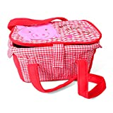 Fabric Organizer Storage Container Basket Bin Piggy Face (Red)