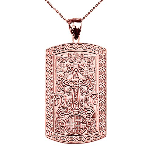 Armenian-Cross-Khachkar-14k-Rose-Gold-Engraveable-Dog-Tag-Pendant-Necklace