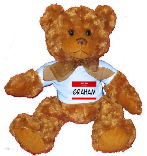 HELLO my name is GRAHAM Plush Teddy Bear  BLUE