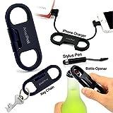 AmaziPro8 iPhone Charge Sync Cable + Bottle Opener + Key Chain + Mini Stylus Pen + Dust Plug (Black)