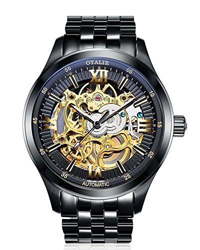 uomo automatico meccanico Skeleton orologio automatico quadrante nero in acciaio inox orologio impermeabile Band