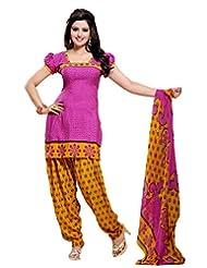 Vineberi Beautiful And Trendy Unstitched Printed Crepe Purple Salwar Suit Dress Material With Dupatta - B00MUR9K9I