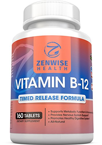 Vitamin B12 - 1000 MCG Supplement - Natural Energy Booster - Benefits Heart, Digestive and Brain Function - 160 Count Timed Release Tablets (Foods That Give You Energy compare prices)