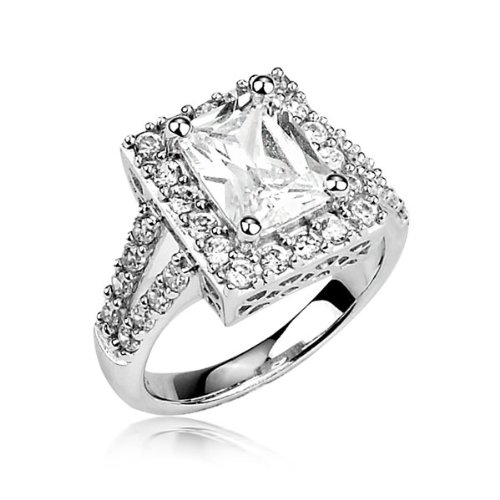 Sterling Silver Ring Radiant Cut Cubic Zirconia CZ Ring 3.3 ct.tw - Nickel Free Engagement Wedding Ring (Available in Sizes 6 to 8) [Size 8]