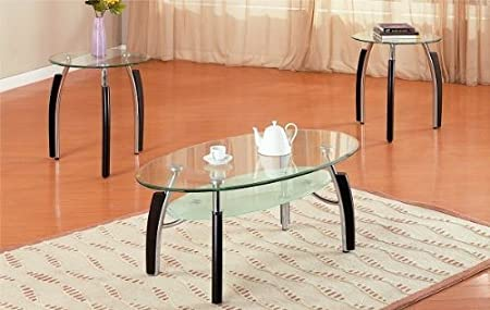 3pc Modern Oval Metal and Glass Coffee & End Table Set by Poundex