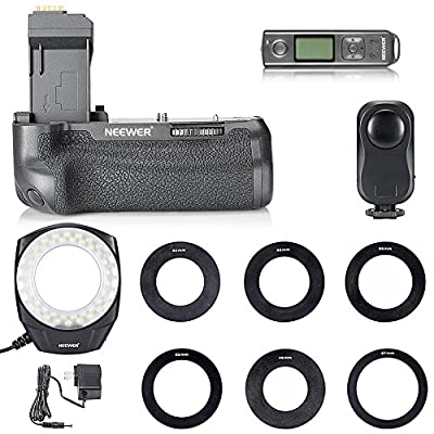 Neewer® NW-760D Pro Battery Grip Replacement for BG-E18 with LCD Display Built-in 2.4G Wireless Remote Control+ 48 LED Macro Ring Light for Canon EOS 750D/T6i, 760D/T6s