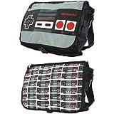 Nintendo Allover Reversible Flap Messenger Bag, Grey/Black, One Size
