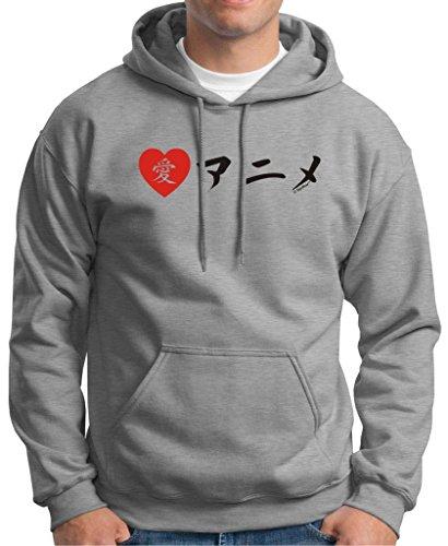 I Love Anime In Japanese Premium Hoodie Sweatshirt Medium Light Steel