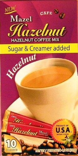 Mazel Café Hazelnut Coffee Mix Singles (10 Packets each) THREE BOXES