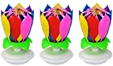 3 PCS of Birthday Candle,Plays Music,with 14 Little Candles and Spins ( Rainbow)