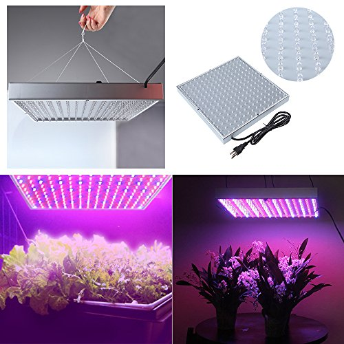 Dbpower 15W 225-Led Red+Blue+White+Orange Spectrum Hydroponic Plant Grow Light Panel / Lamp, 225 Led Plant Grow Light Panel