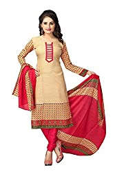 Jashvi Creation Women's Cotton Dress Material (JC_DM_539_Beige)