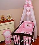 Toldo de pie para cuna de bebé y cesta de mimbre, diseño de corazones, color rosa
