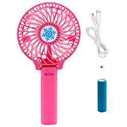 Casotec Portable Mini USB Fan Rechargeable Personal Handheld Fan Foldable Battery Operated / USB Powered for Home and Office - Baby Pink