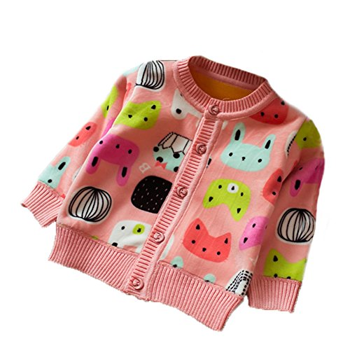 Zhuannian Baby Girls Carton Fleece Cardigan Button Sweaters (12-18months, Pink)