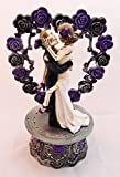 Wedding Party Reception Cake Topper Day of the Dead Skeleton Gothic Purple