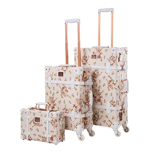 """13"""" 20"""" 26"""" Women Floral Pu Leather 3 Pieces Travel Luggage Set with Spinner Wheels 3"""