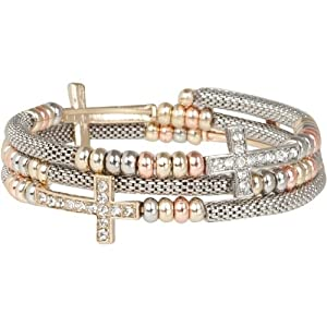 Heirloom Finds Crystal Sideways Cross Wrap Bracelet of Silver Tone Mesh with Tri Color Beads