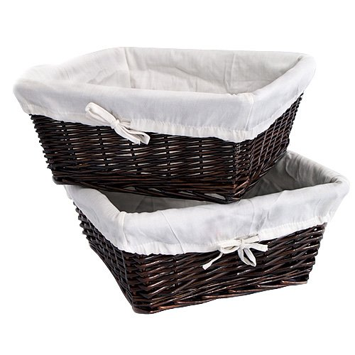 Burlington Baby Large Espresso Willow Basket Set with Liner, White