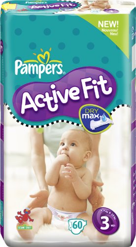 Pampers Active Fit Size 3 Midi Nappies - 2 x Economy Packs of 60 (120 Nappies)